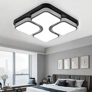24921177b21b ... techo Diseño de moda moderna plafón,Lámpara de Bajo Consumo Techo para  Dormitorio,Cocina,oficina,Lámpara de sala de estar,Color Negro (64W Blanco  frío)